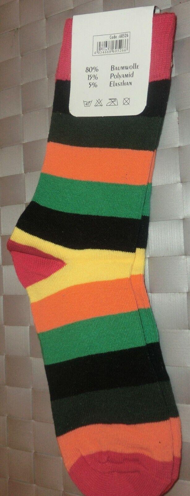 1 Paar bunt gestreifte Socken mit roter Spitze, Ferse, Bündchen 35/38 NEU