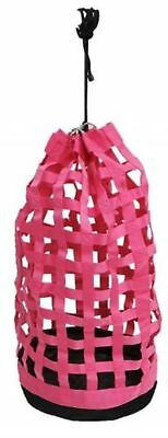 Showman PINK Webbed Nylon Slow Feed Round Hay Tote! NEW HORSE TACK!