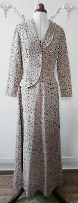 "Vintage Early 1970's Beige & Brown Maxi Skirt & Jacket Suit UK Sz 10, to 28"" Wst"