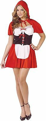Womens Sexy Red Riding Hood Costume Little Hooded Cape Fancy Dress Adult S M L (Red Riding Hood Adult Costume)