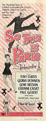 "1955 Tony Curtis photo ""So This is Paris"" Movie Release vintage print ad"