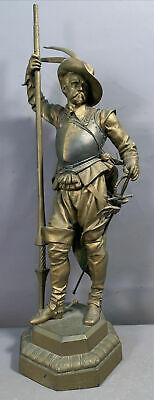 19thC Antique VICTORIAN Era CAVALIER Knight & ARMOR Old MANTEL Garniture STATUE