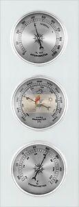 WETTERSTATION ANALOG THERMOMETER BAROMETER HYGROMETER GLAS WETTERCENTER 095009