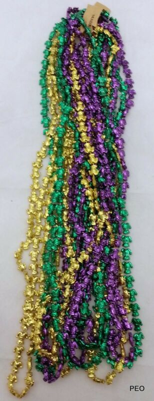 Mardi Gras Beads Jester 33 inch Purple Green Gold 3 dz Throw Bead Necklace PGG