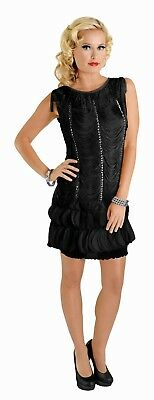 1920's Vintage Style Fringed Flapper Art Deco Dress Gatsby Womens Costume Black - Flapper Style Costumes