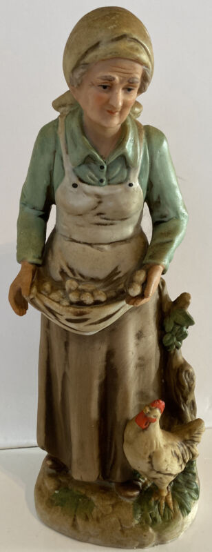 "HOMCO ""OLD WOMAN GATHERING EGGS"" 10 1/2"" PORCELAIN FIGURINE-#1434 FARMHOUSE"
