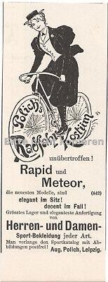 Polich's Radfahr-Kostüm 1890 skurrile antike original Werbung Anzeige - Skurrile Kostüm