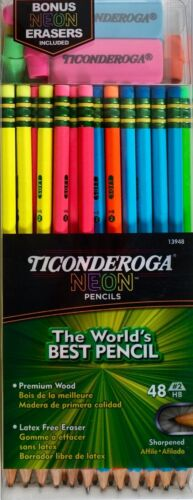 Ticonderoga Neon Sharpened Pencils #2 HB with Erasers, 48 Count