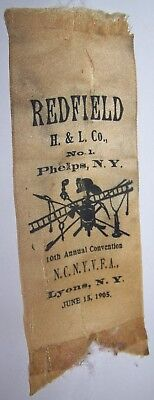 c1905 ANTIQUE REDFIELD HOOK LADDER #1 PHELPS NY FIREMAN CONVENTION RIBBON LYONS
