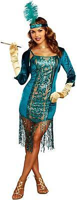 Dreamgirl High Society Teal Sequin Dress Gatsby Flapper Women's Costume - High Society Costumes