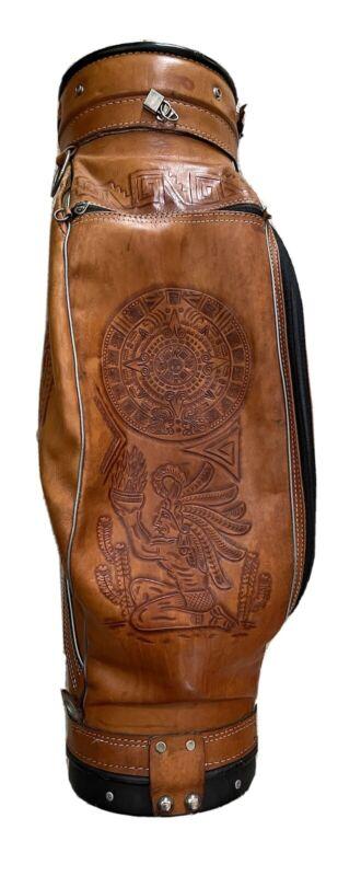 Vintage Hand Tooled Leather Golf Bag
