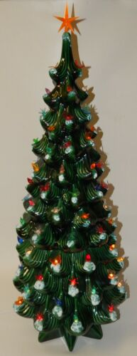 "Vintage Atlantic Mold Rare Large 34"" Lighted Ceramic Christmas Tree"