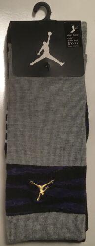 2 Pairs Nike JumpMan Jordan high crew Socks $14 Size 5Y-7y Youth grey purple