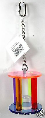 PET BIRD ACRYLIC WHEEL RATTLE FUN ACTIVITY FOR CAGE MEDIUM TO LARGE