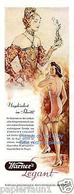 Warner´s Legant Reklame 1941 Unterwäsche BH Mieder Kleid Strapse Decollete