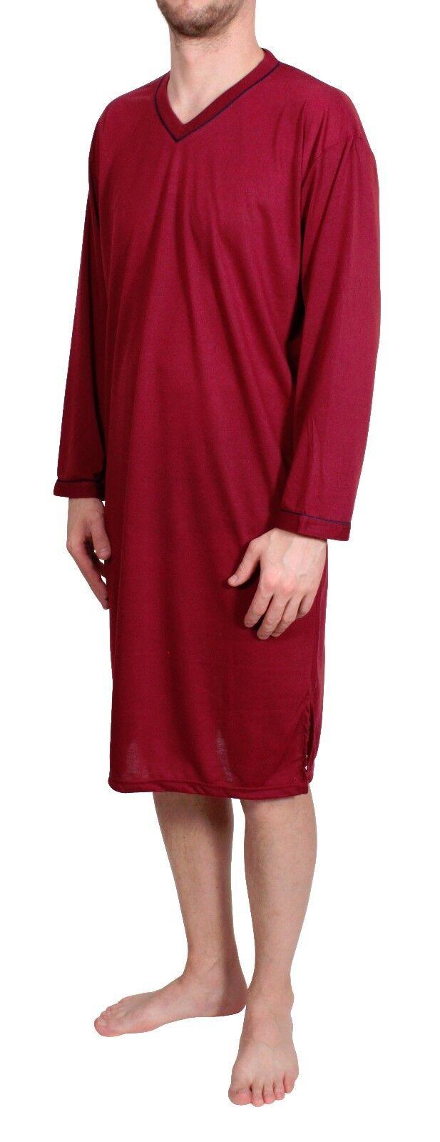 Uomo Camicia da notte maniche lunghe pigiama vestaglia Biancheria cotone