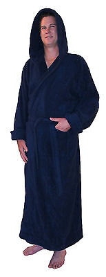 Hooded Bathrobe Turkish Cotton Terry Cloth Ankle Length Mens Womens Warm Robe - Mens Hooded Bathrobe