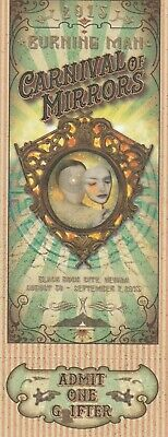 Burning Man Ticket 2015 Carnival Of Mirrors Complete Unused Beautiful Example