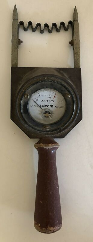 Vintage Spike Type French FACOM Steampunk Amp Meter Bakelite Body Wooden Handle