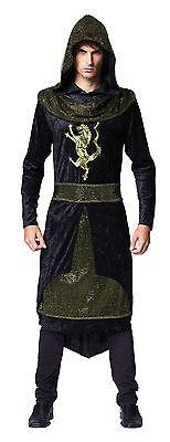 Mittelalterliche Prinz Robe mit Kapuze Drachen Spiel Krieger Rüstung Schwarz - Drachen Krieger Kostüm