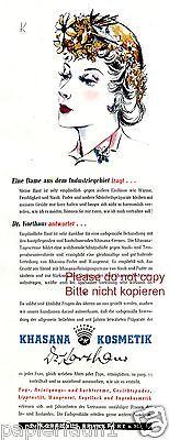 Khasana Kosmetik Reklame v. 1941 Dame aus Industriegebiet Dr. Korthaus Frankfurt