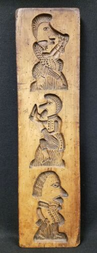 Early Antique Cookie Board Hand Carved Wood Figures