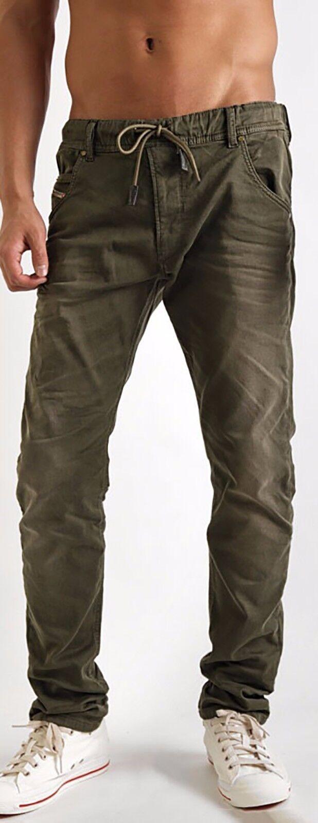 Men/'s DIESEL Krooley NE 670M Green Joggjean Jogg Sweat Leg Jeans Pants New