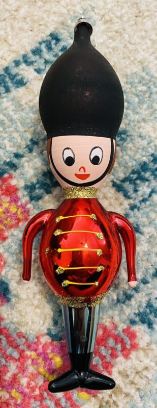 Vtg Italy DE CARLINI Toy Soldier Castle Guard Blown Glass Hand Painted Ornament