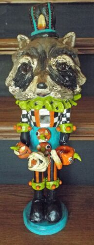 New Handmade Vintage Folk Art Raccoon Whimsical Nutcracker Halloween Nostalgic