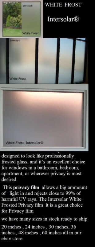 Privacy Frosted Home Bedroom Bathroom Glass Window Film 60 inch x 3' ft white