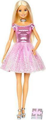 Barbie Happy Birthday Doll, Blonde, Wearing Shimmery Pink Party Dress with Gift