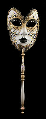 Mask from Venice in Stick Volto Black Golden for Gala or Prom 1392