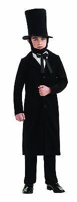 Abraham Lincoln Child Costume 4 Pc Blk Coat Faux Shirt/Tie Pants Hat Costume Lg