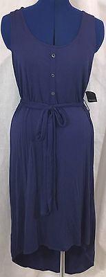 Tahari Medium Shirt Dress Purple Cleon M Asymmetrical Knit Tank Short Belt New