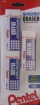 Pentel Hi-polymer Erasers 3 Pack Large Size Eraser Latex Free