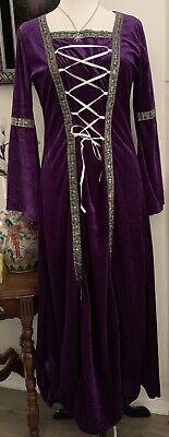 Womens Costume Medieval / Renaissance Purple Velvet Lace-Up Dress Med-Lg   - Purple Renaissance Costumes