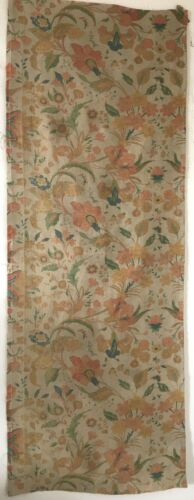 Beautiful 20th C. French Linen Floral Jacobean Fabric  (3022 )