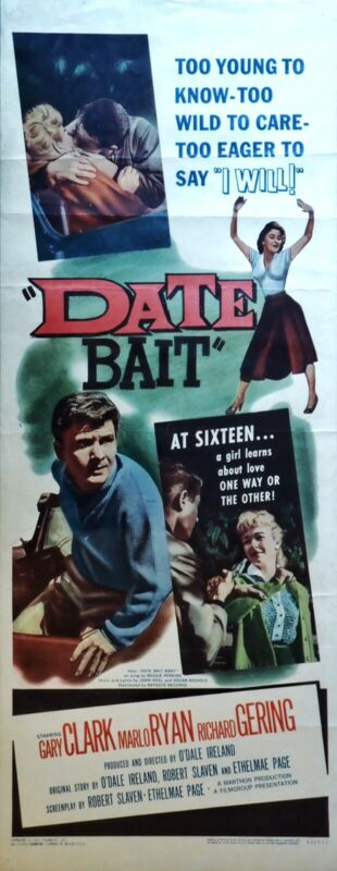 DATE BAIT-Original 14 X 36 INSERT Poster 1960 Clean & Folded Teen Classic