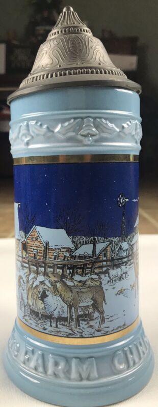 Lowell Davis German Beer Stein Silent Night Christmas Opas Haus COA
