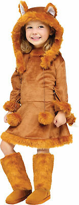 Sweet Fox Child Costume Toddler Girls Animal Velvet Dress Fur Safari Halloween