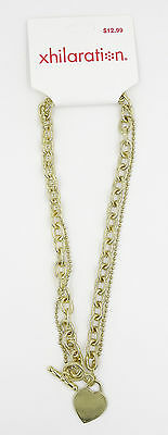 New Gold Tone Necklace with Toggle Clasp & Heart Pendant #N2217