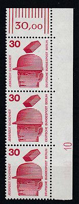 BERLIN 1971 UNFALL MINR 406 SKR ECKRAND 3ER STREIFEN MIT DZ 10 POSTFRISCH