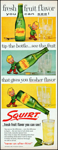 1958 Animated Boy pouring Squirt Fruit Soda into glass retro art print ad adL39