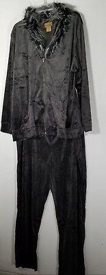 Womens Gray 2 Piece Velour Faux Fur Pants Suit 3X 26 28 Plus Size Pants Set New -