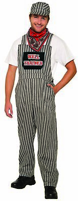 Classic Engineer Adult Costume Mens Train Conductor Overalls Well Trained  OS