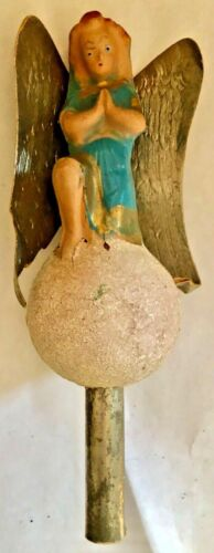 Antique VTG Gloria Angel Christmas Tree Topper Composition Paper Wings Damage