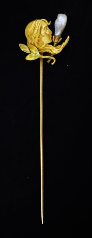 Antique Art Nouveau Solid 14k Yellow Gold Pearl Lady Head Figural Hat Stick Pin