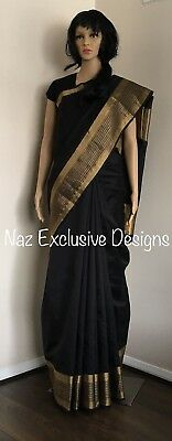 Black And Gold Border Saree Sari UK STOCK Indian