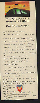 HANDWRITTEN NOTE DISCUSSING AERIAL COMBAT by FIGHTER ACE (Cmdr HAYDEN GREGORY)!