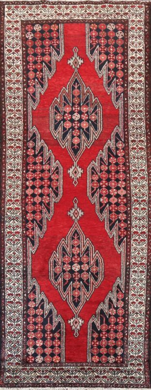 Geometric Semi-Antique Traditional Runner Rug Wool Hand-knotted 3